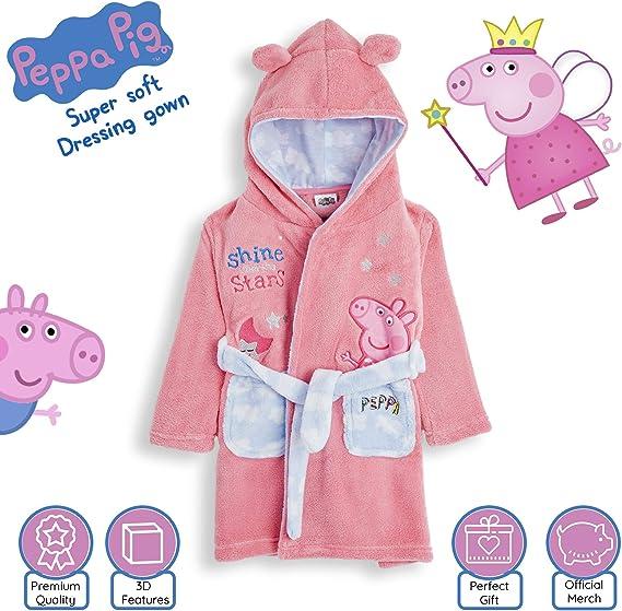 Peppa Pig Bata Suave para Niña Rosa con Capucha y Orejas 3D ...