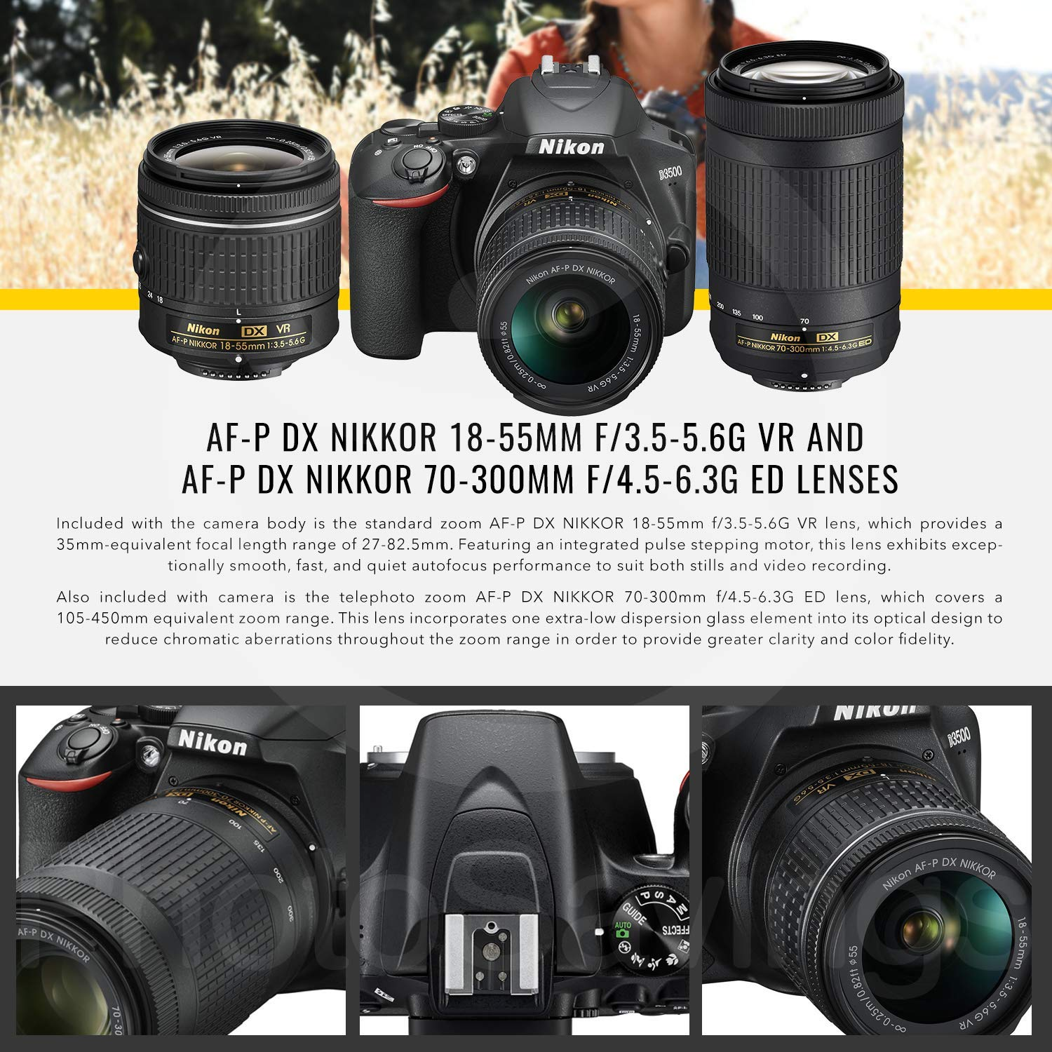 Nikon D3500 DSLR Camera with 18-55mm and 70-300mm Lenses + 32GB Card, Tripod, Flash, and Bundle by Photo Savings (Image #4)