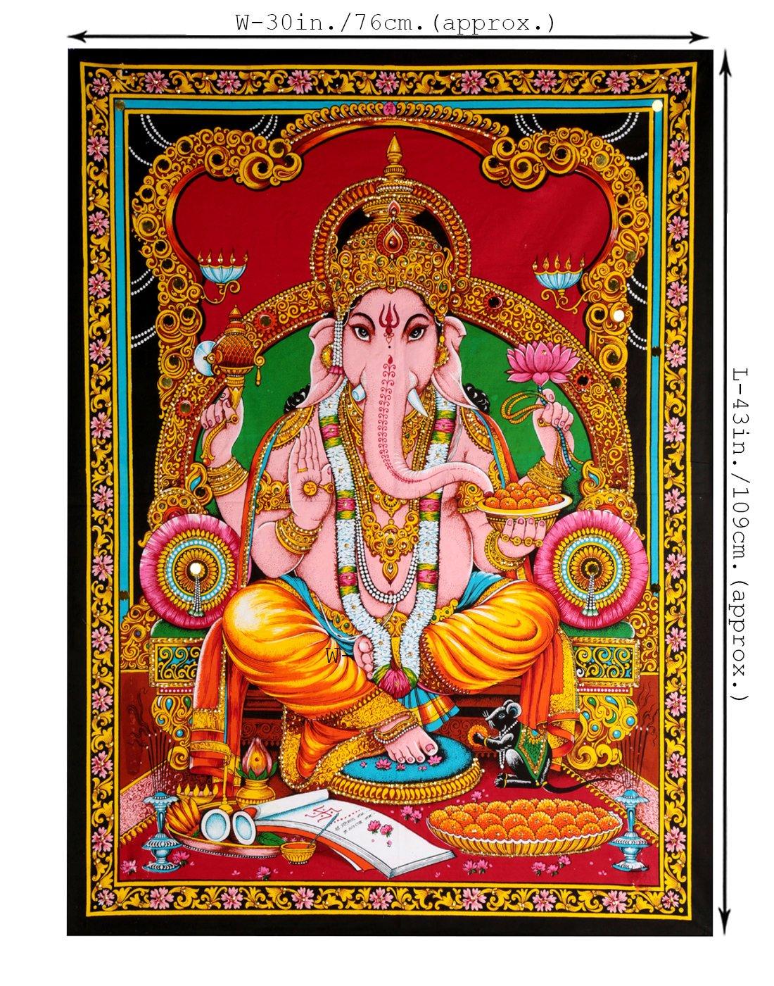 RAJRANG Tapestry Etnici Tapis Lord Ganesha Cotone Parete Ganesh appesa