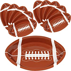 Football Serving Trays   10 Pcs Plastic Football Snack Trays   Game Day Football Serveware   Tailgate Party Serving Platter   Football Party Decorations   Reusable Big Game Chip Trays   By Anapoliz