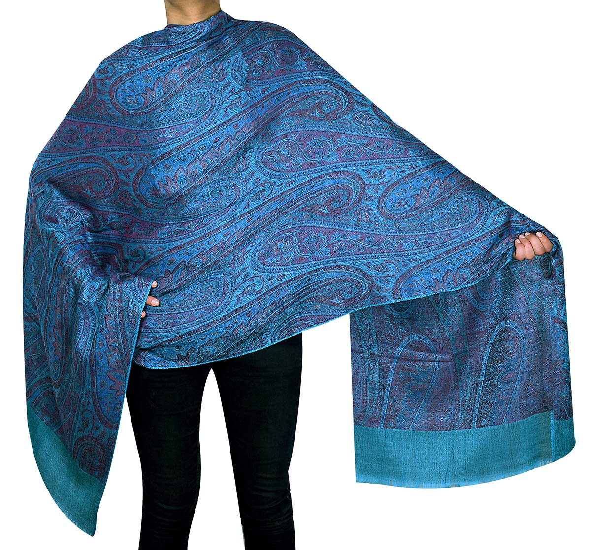 Women's Paisley Wool Shawl Wrap Gift India Clothing (80 x 40 inches) Maple Clothing shwl441816a