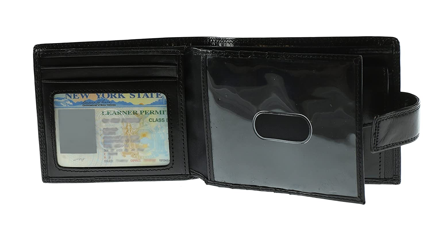 Ochnik Mens Genuine Leather Bi-fold Wallet with 2 Photo ID Card Windows and Snap Closure