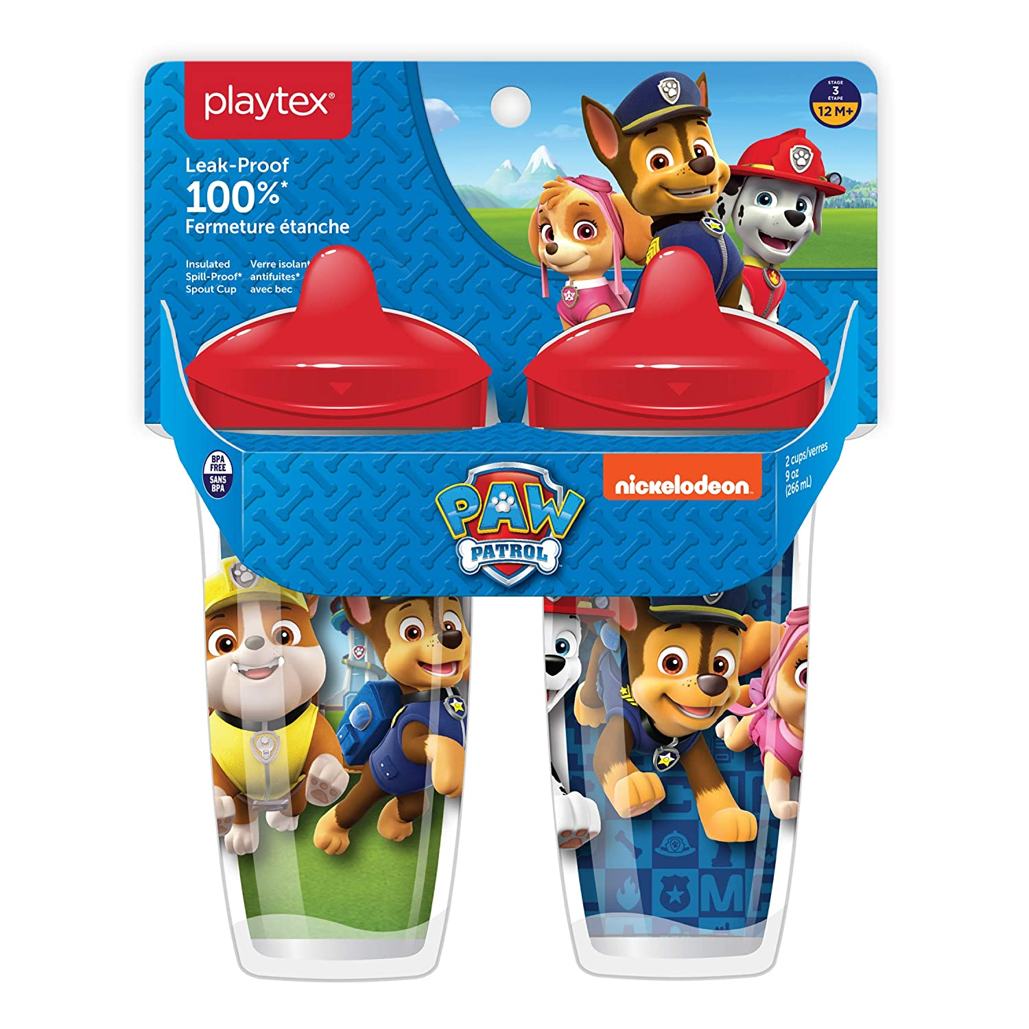 Leak-Proof 9 Ounce Pack of 2 Break-Proof/Spout Cup for Boys Playtex Sipsters Stage 3 Paw Patrol Spill-Proof