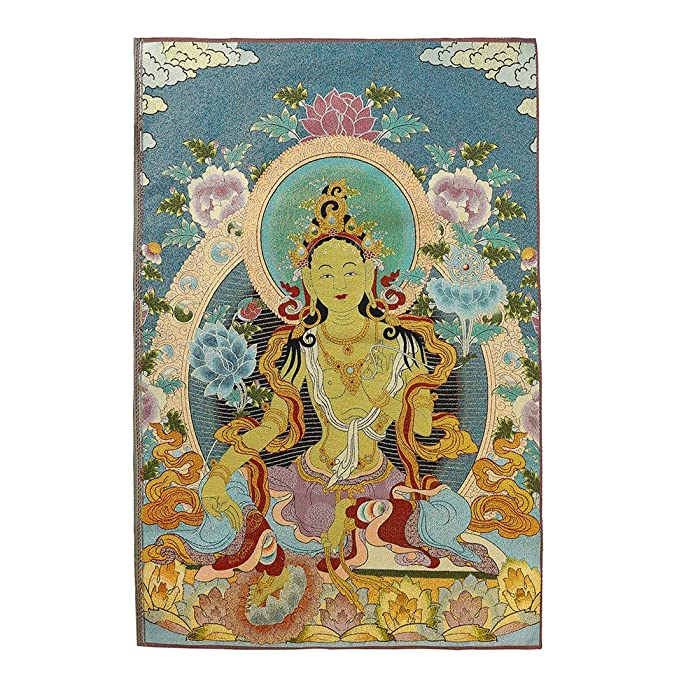 Prime Feng Shui Silk Embroidery Tibetan Thangka with Buddhism Green Tara Wall Hanging for Home Décor Thangka Meditation