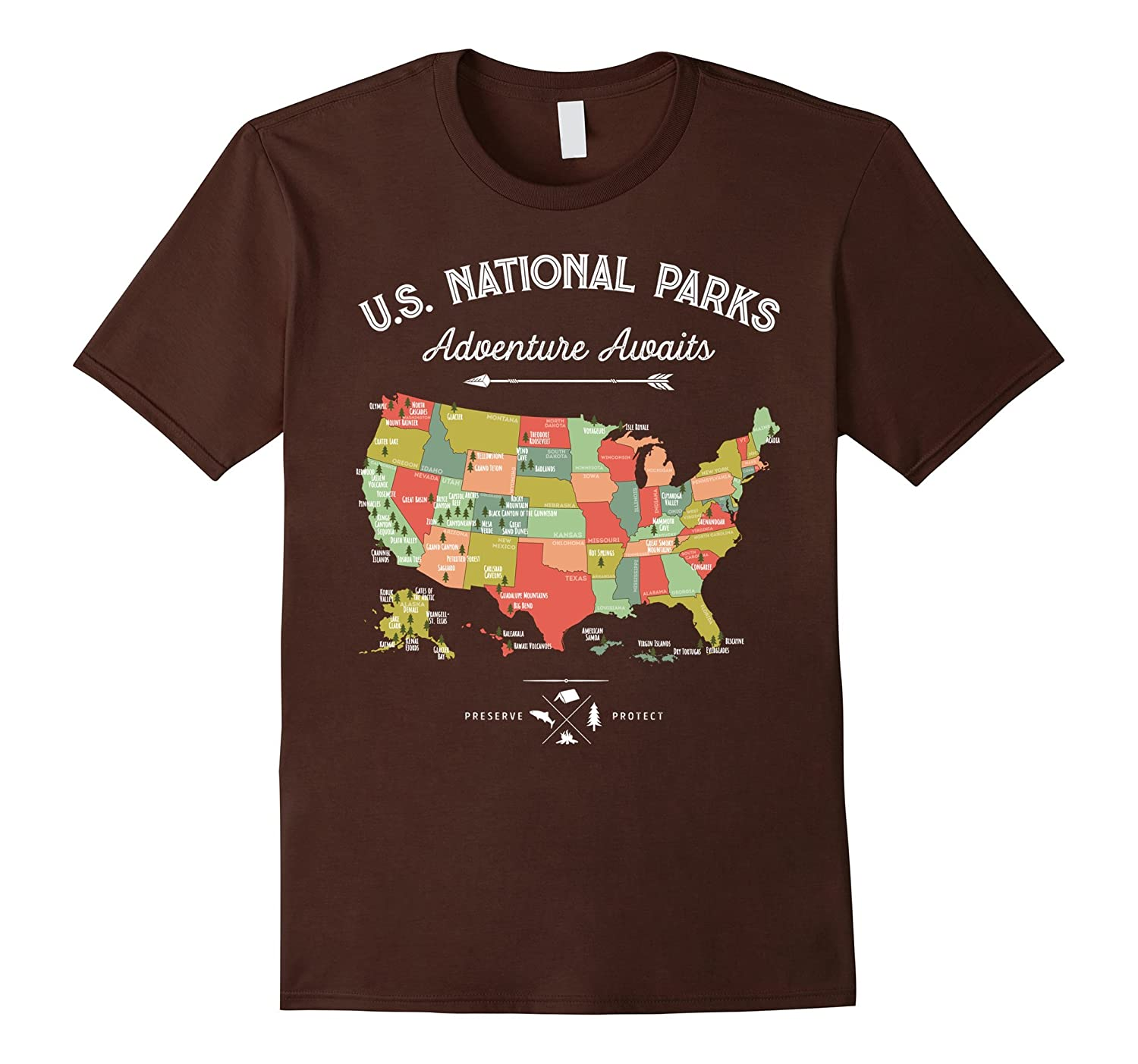National Park Map Vintage T Shirt - All 59 National Parks-T-Shirt