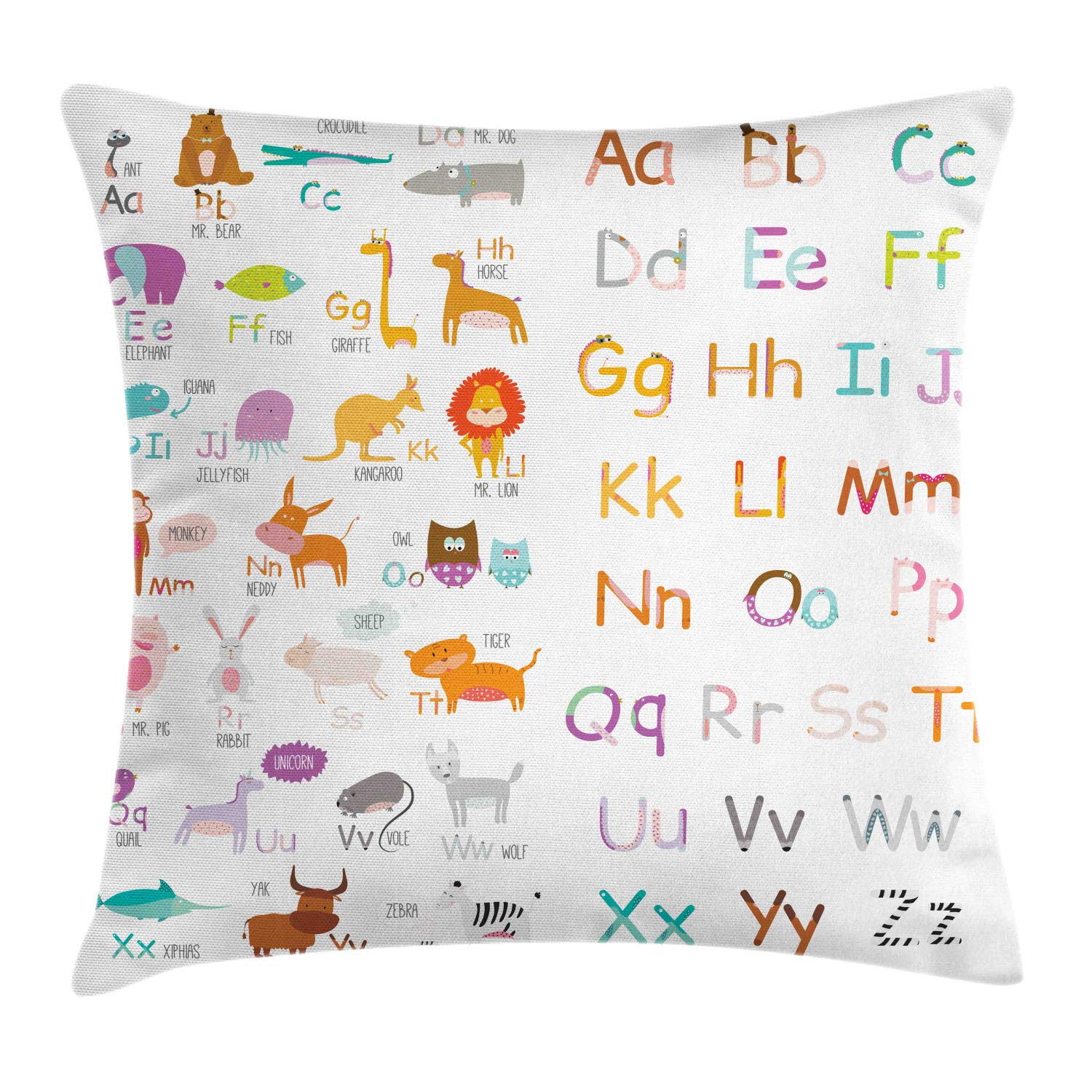 Lunarable Alphabet Throw Pillow Cushion Cover, Nursery Educational Funny Animals with Letters Learning Fun Whimsical Cartoon, Decorative Square Accent Pillow Case, 26'' X 26'', Multicolor by Lunarable