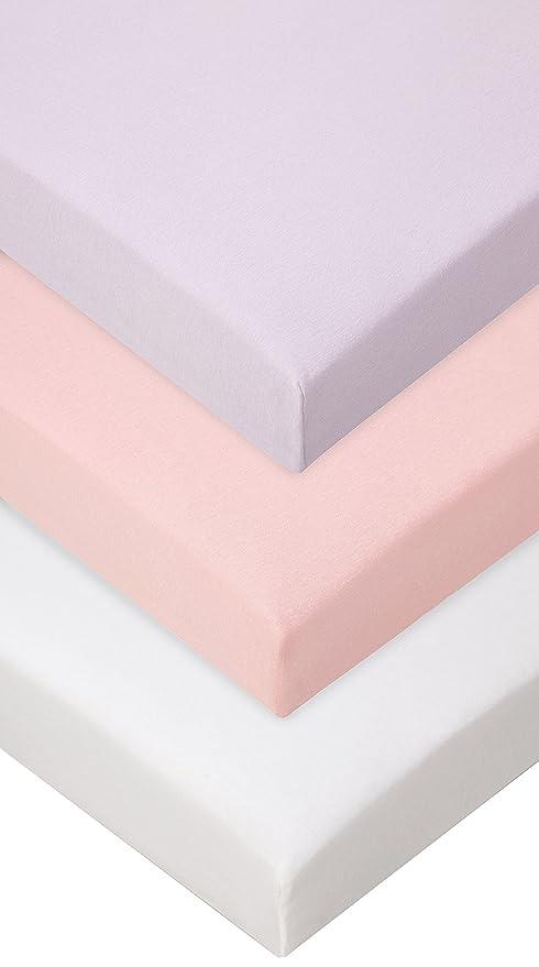 Lot de 3 Draps housse Coton pour lit Bébé 70x140 rose blanc parme ...