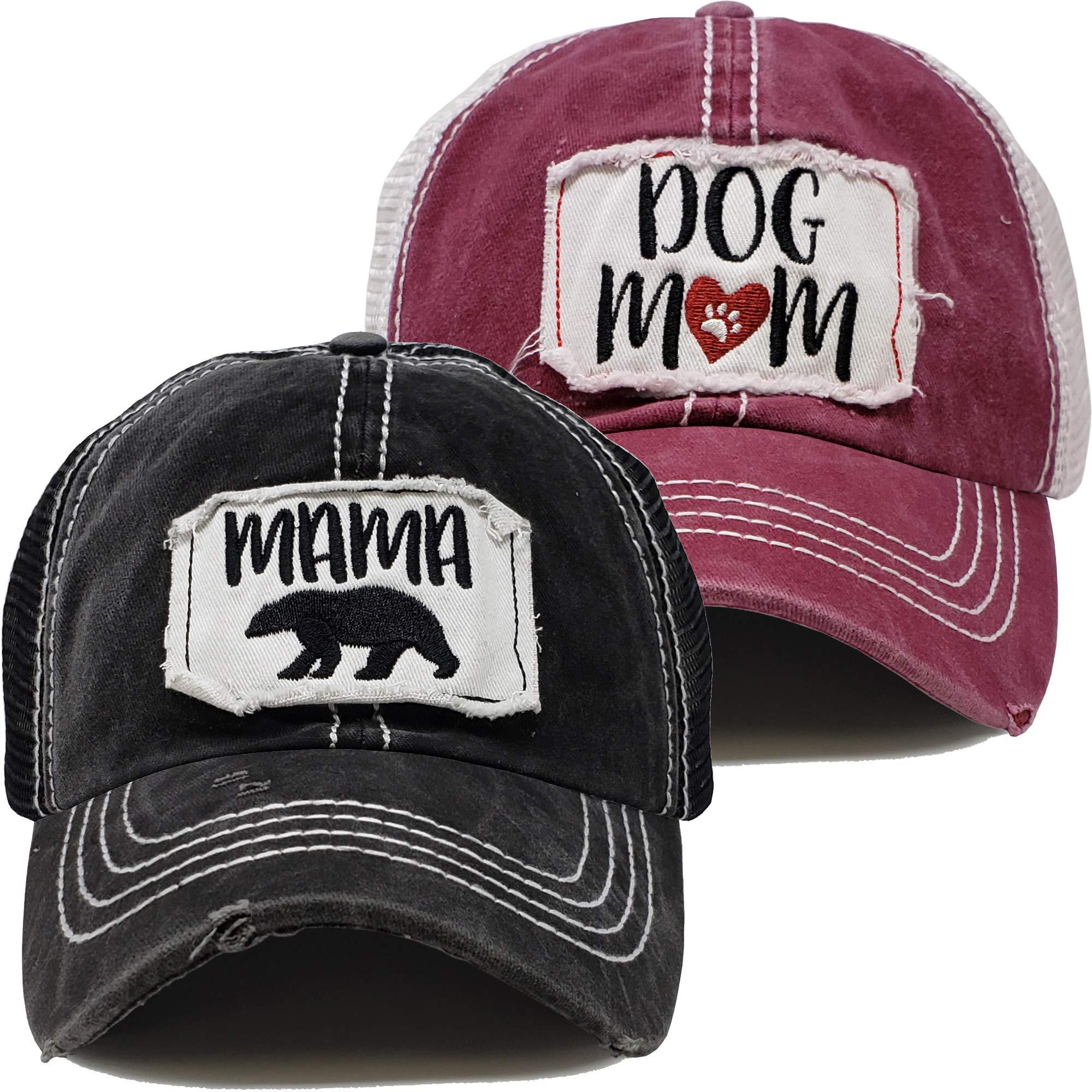BH-200-2-DM64.MB06 Baseball Hat - 2 PK: Dog Mom (Burgundy) MAMA BEAR (Black)