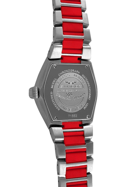 Sandoz 71553-06 - Reloj Fernando Alonso Caballero Plata/Rojo: Amazon.es: Relojes