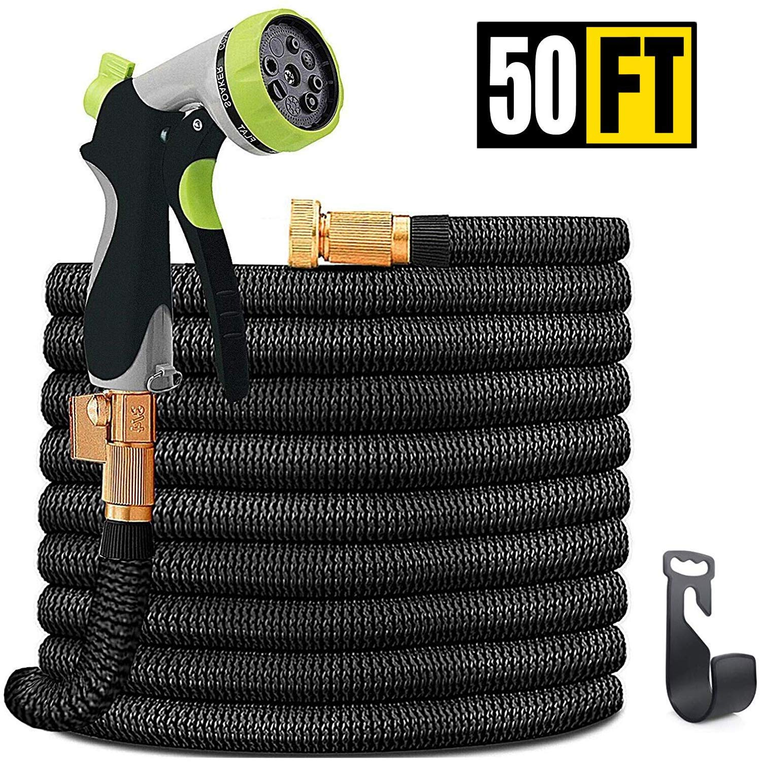INNOLI Water Hose 50ft for Garden Lightweight Expandable Flexible Durable Water Hose with Spray Nozzle and 3/4 Nozzle Solid Brass Connector (50)