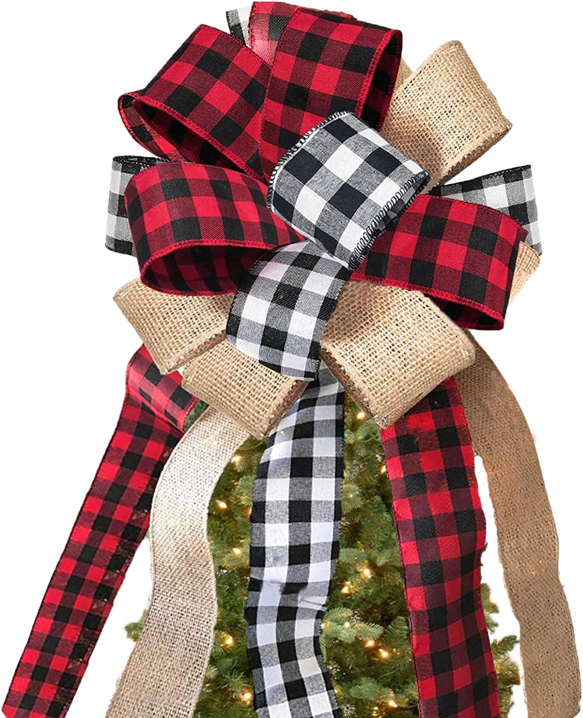 Svnntaa Christmas Tree Topper Buffalo Plaid Decorative Bow,Handmade Farmhouse Large Gift Bow Door Bows Banister Bow Christmas Bows for Holiday Home Decor