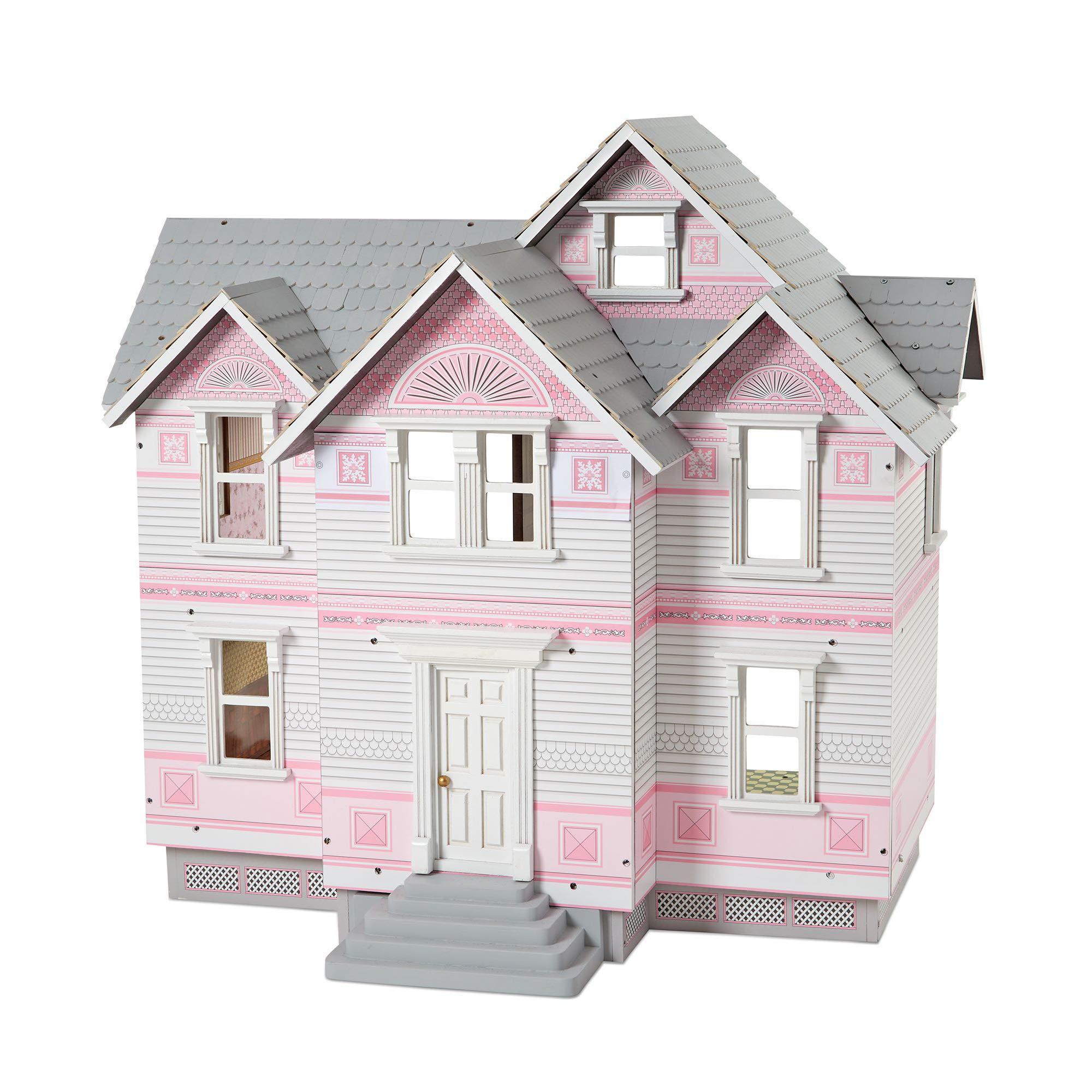 "Melissa & Doug Victorian Dollhouse, Dolls & Dollhouses, Detailed Illustrations, Sturdy Wooden Construction, 29.5"" H x 28"" W x 18"" L"