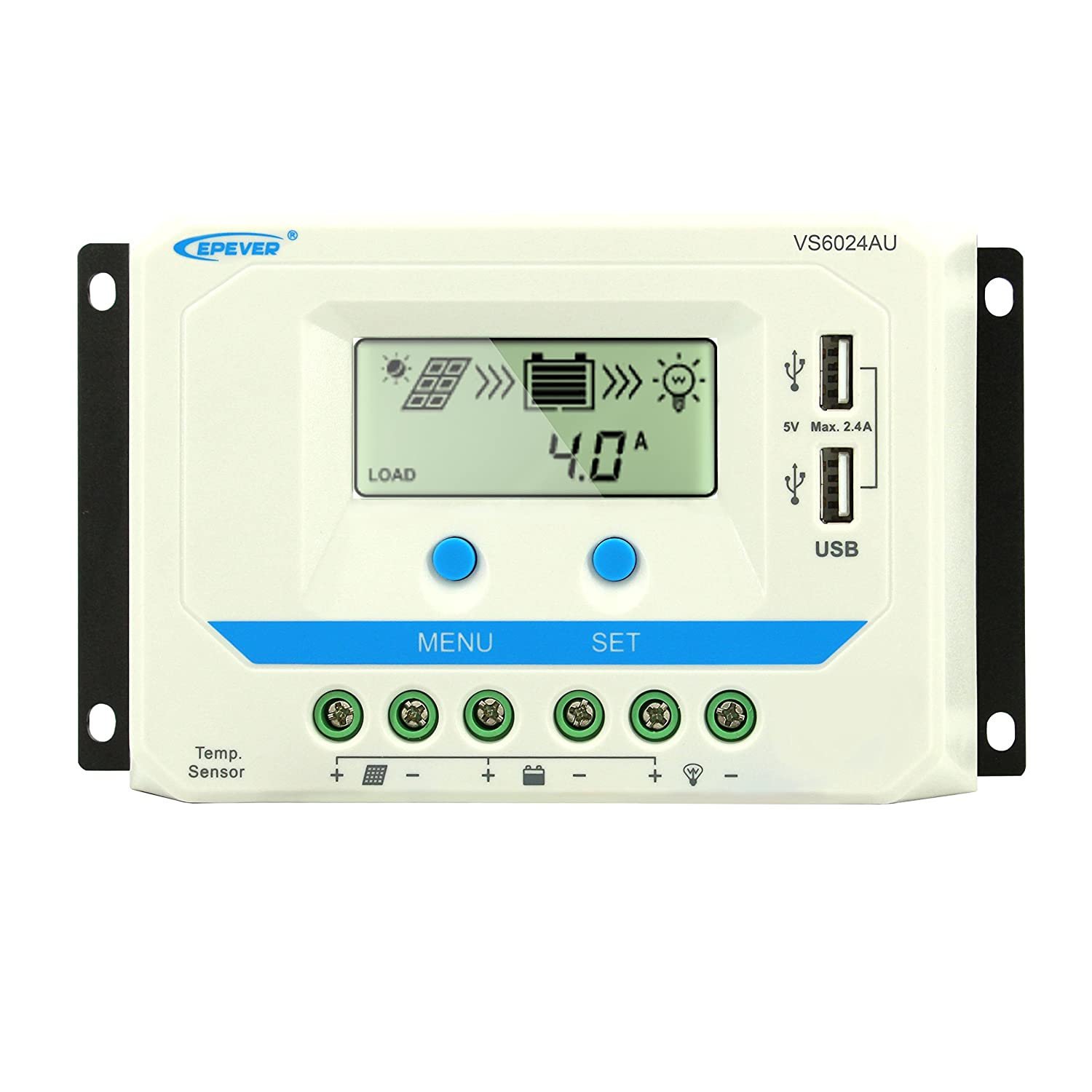 EPEVER PWM Solar Charge Regulator 12Volt/24Volt Battery. Regulator Charger Input with LCD Display Dual USB Output