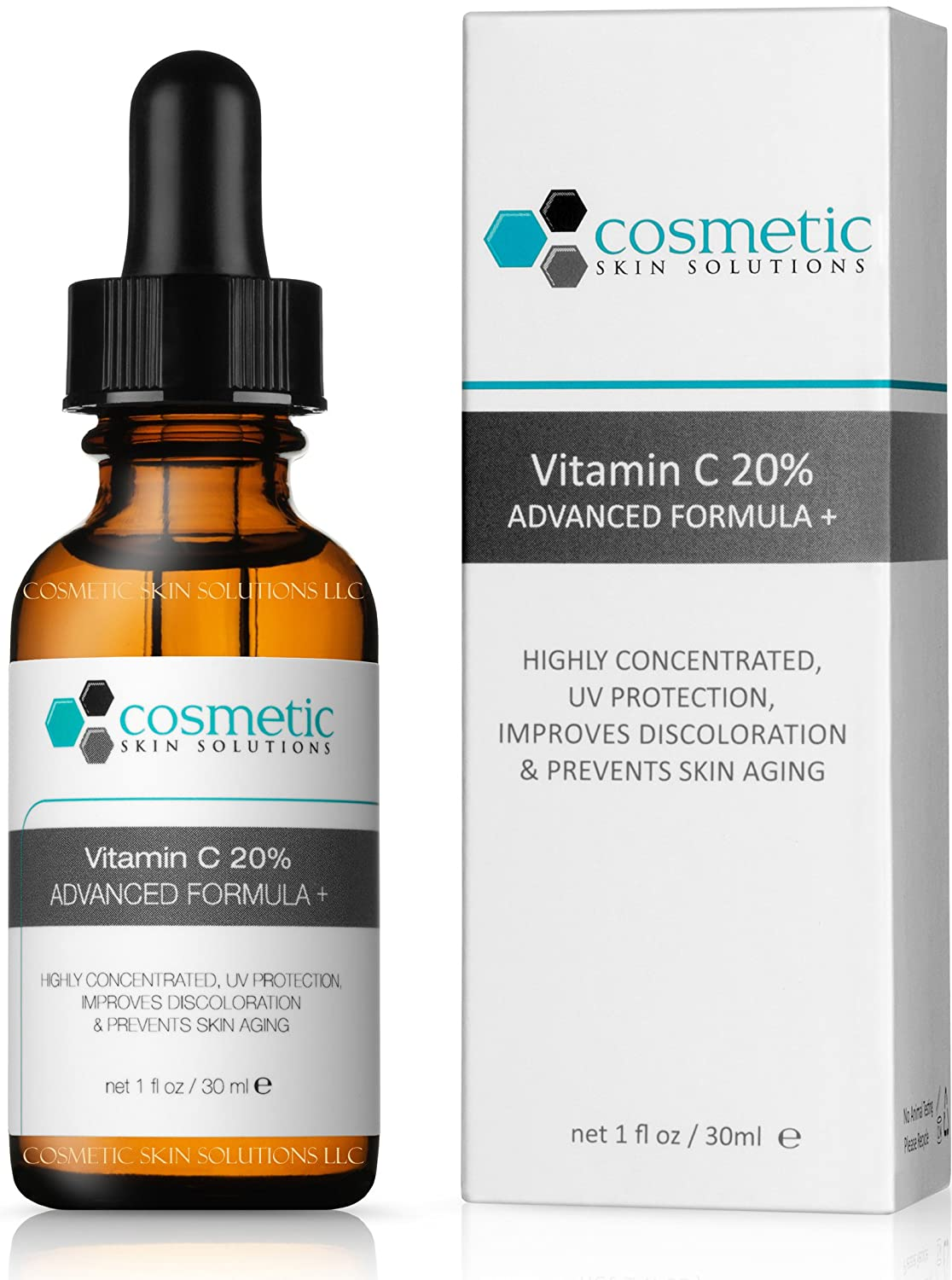 Vitamin C 20-Percent Serum Advanced Formula 1 oz /30 ml-20-Percent Vitamin C, 0.5-Percent Ferulic acid, and hyaluronic acid. Highly concentrated, UV protection, prevents skin aging. Skincuticals