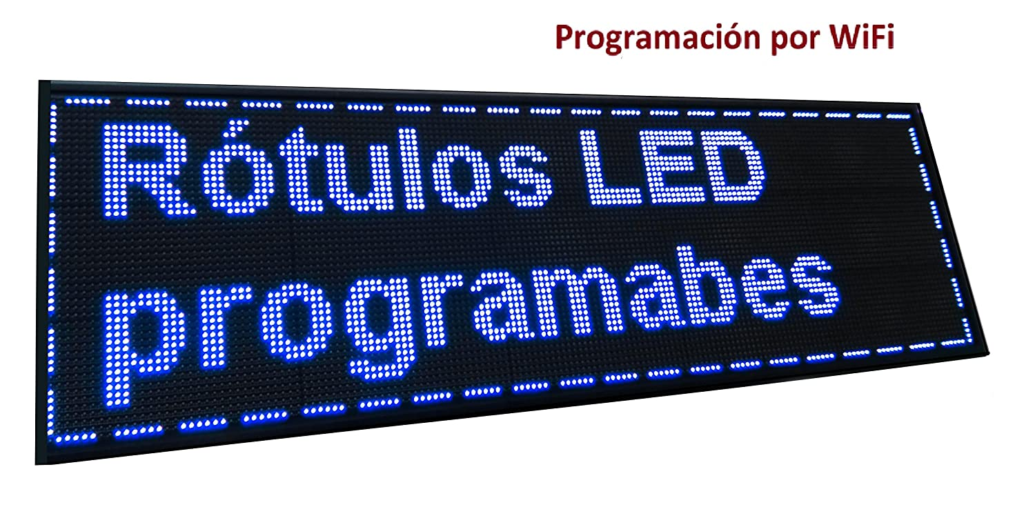 Cartel LED PROGRAMABLE (160x48 cm + WiFi, Azul) Letrero LED ...