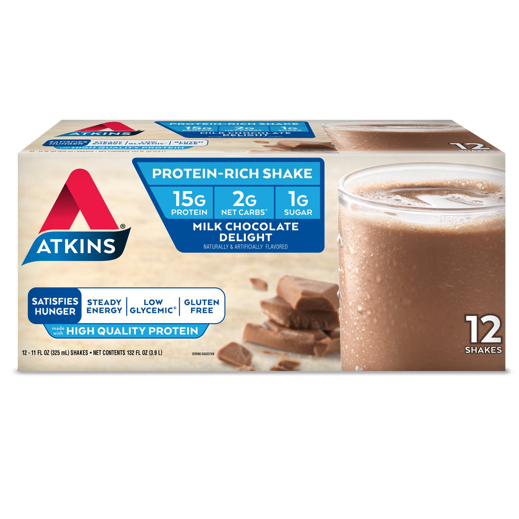 Atkins Gluten Free Protein-Rich Shake, Milk Chocolate Delight, Keto Friendly, 12 Count by Atkins