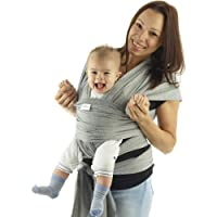 Baby Sling | Baby Wrap Carrier | Newborn to 35 lbs Infant with 3 Carrying Positions | 95% Cotton 5% Spandex - Dark Grey