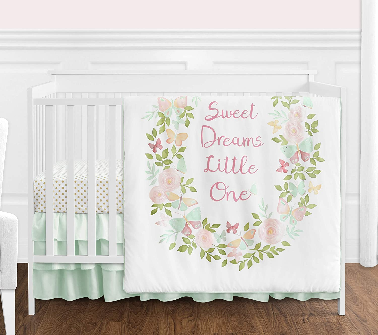 Sweet Jojo Designs Blush Pink, Mint and White Shabby Chic Butterfly Floral Baby Girl Crib Bedding Set Without Bumper - 4 Pieces - Watercolor Rose