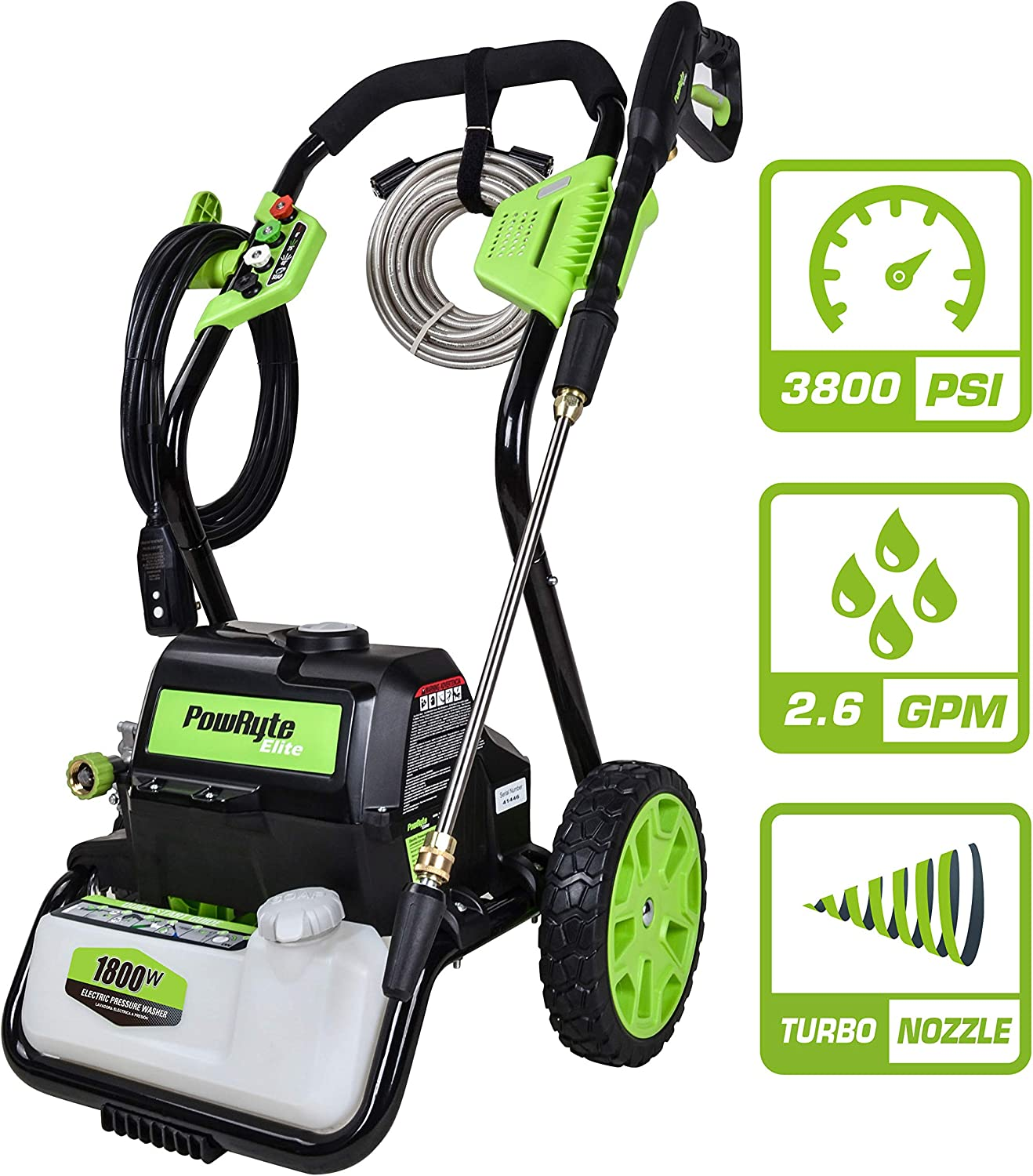 PowRyte Elite 3800 PSI 2.60 GPM Electric Pressure Washer, Electric Power Washer with 5 Piece Quick-Connect Spray Tips and 1Pc Turbo Nozzle
