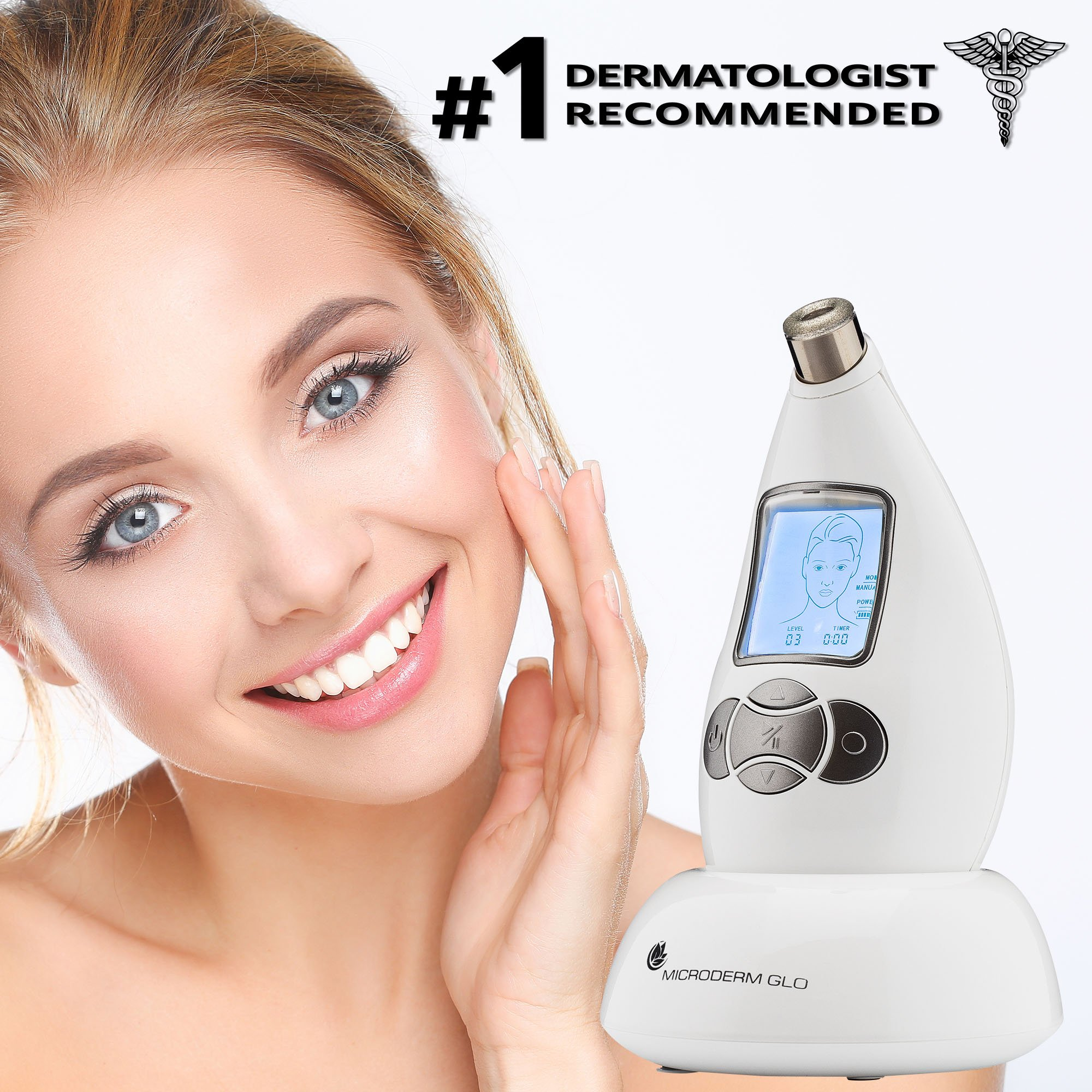 Microderm GLO Diamond Microdermabrasion System by Nuvéderm – #1 Advanced Home Facial Treatment Machine, Clinical Dermabrasion Anti-Aging Care, Perfect Blackhead Remover & Exfoliating Skincare Solution by Microderm GLO (Image #4)