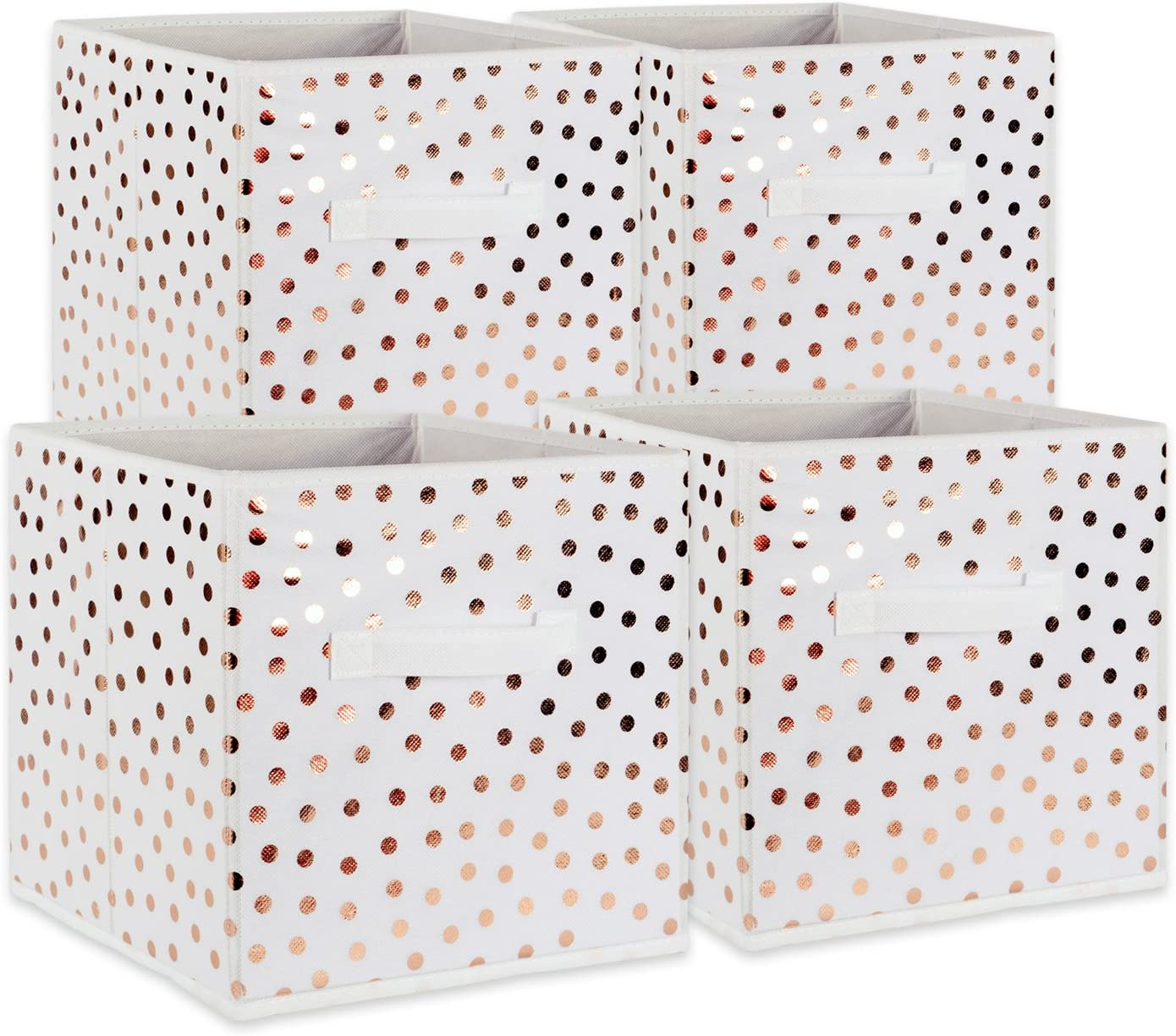 "DII Fabric Storage Bins for Nursery, Offices, & Home Organization, Containers Are Made To Fit Standard Cube Organizers (11x11x11"") White with Copper Dots - Set of 4"