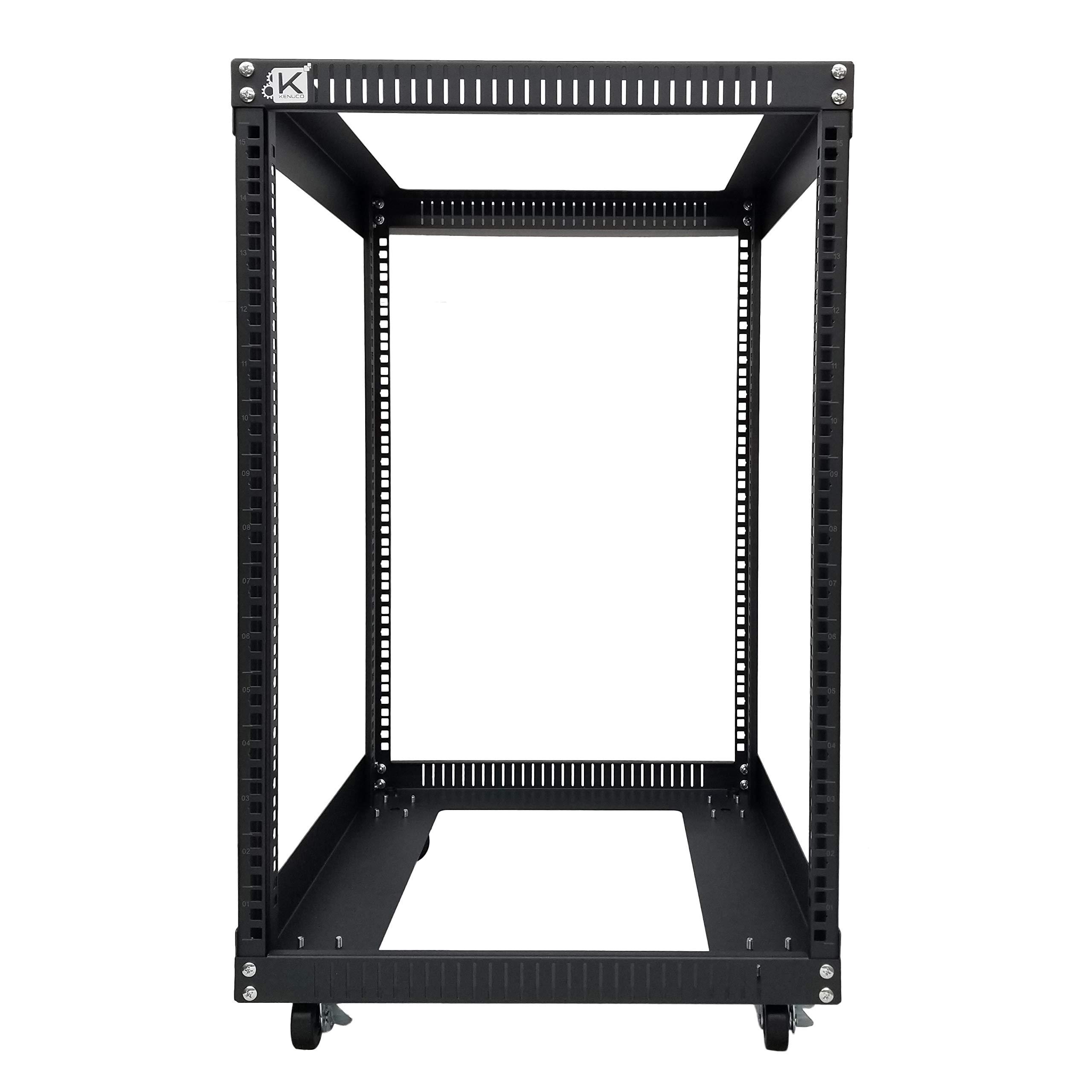Kenuco 15U Standing Open Frame Rack with 4 Wheels and 4 Posts - Steel Network Equipment Rack 17.75 Inch Deep