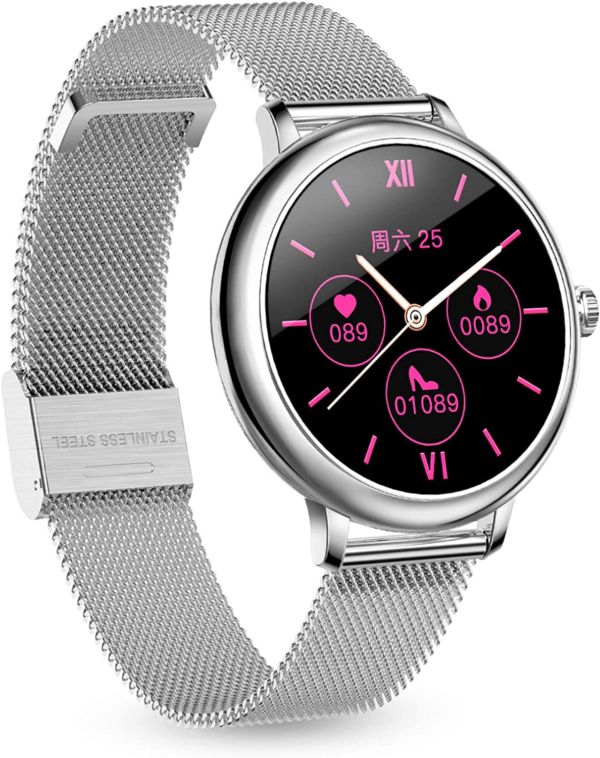 LB LIEBIG Womens Smart Watch, Fitness Activity Tracker Watch with Heart Rate,Blood Pressure Monitor, Full Touch Screen, Extra Leather Band,Compatible with Apple and Android Phones