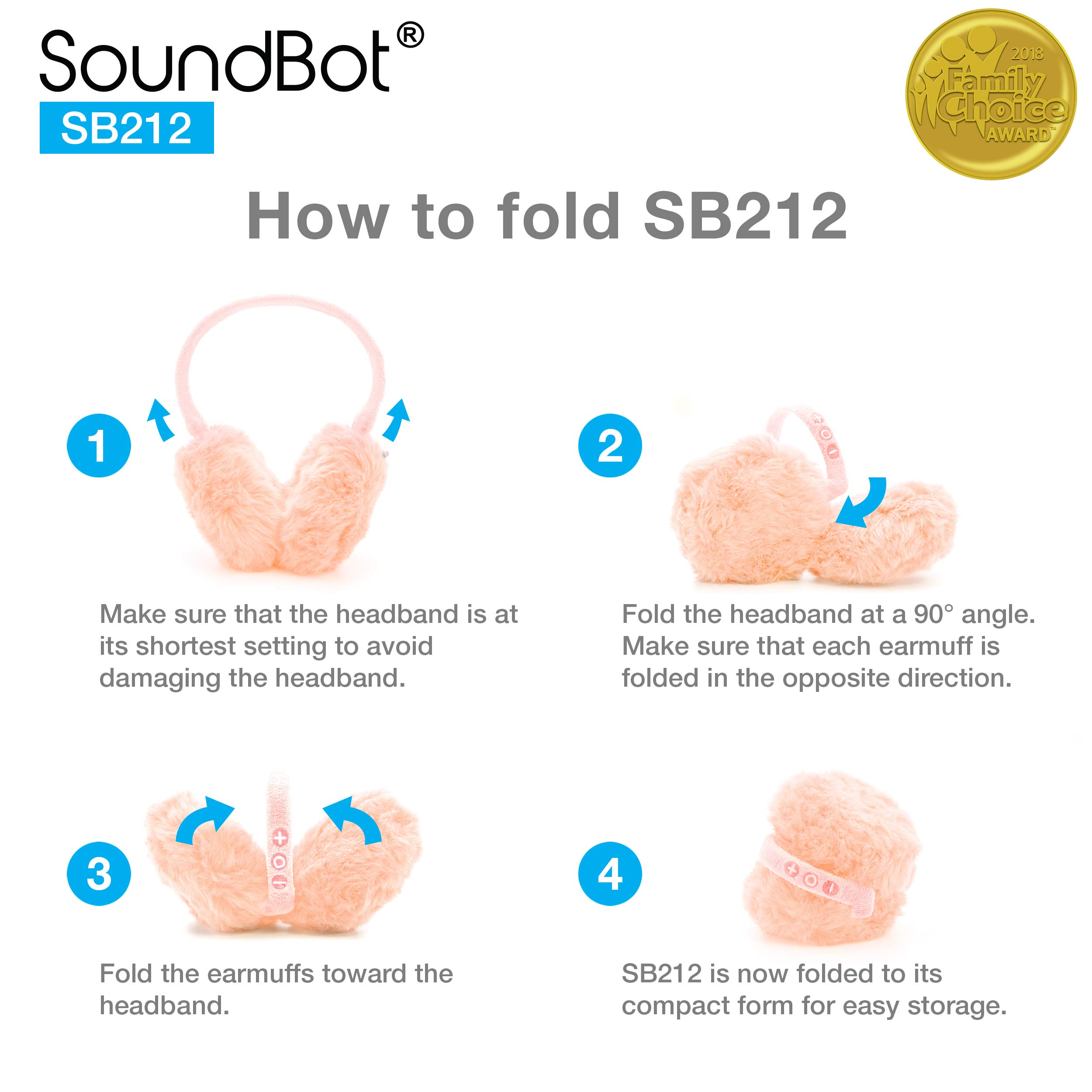 Soundbot SB212 HD Stereo Bluetooth 4.1 Wireless Musical Earmuffs Headphone,Up to 5 Hrs Play Time, Up to 8 Hrs Talk Time,60 Hrs Standby Time, Build-in Mic