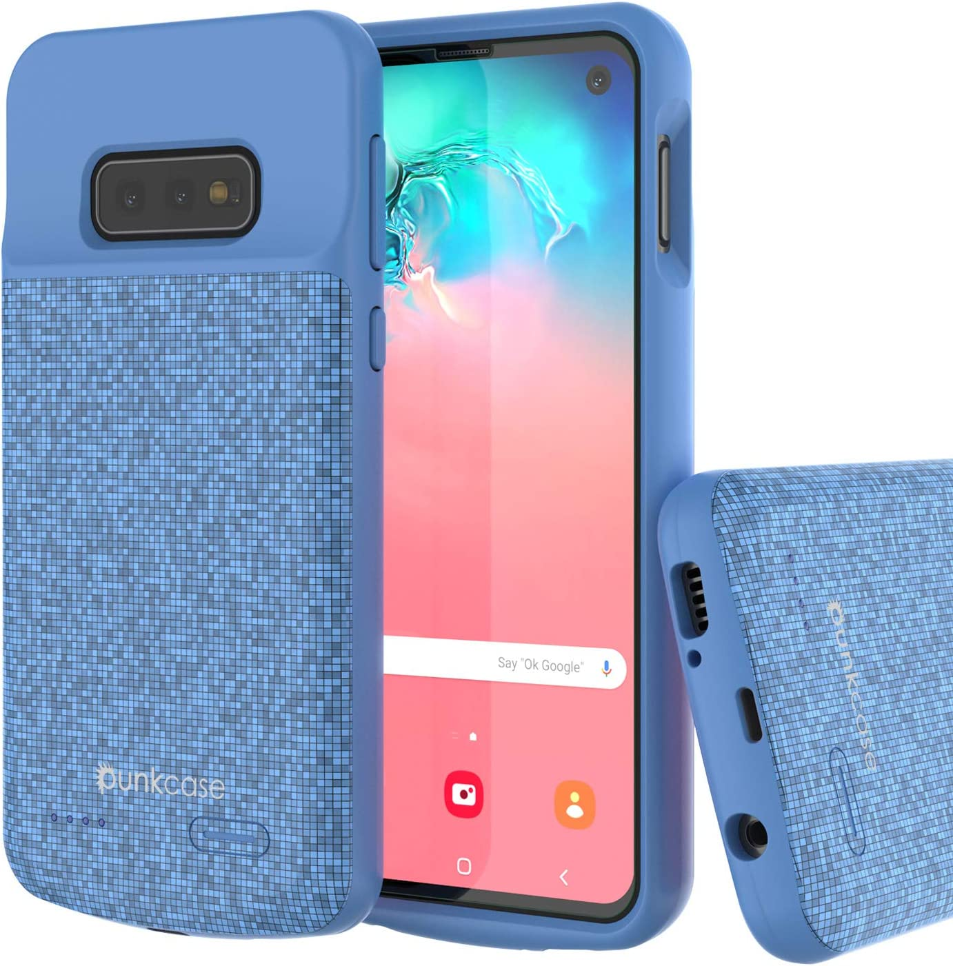 PunkJuice S10e Battery Case, 4700mAh Fast Charging Extended Power Bank W/Screen Protector | IntelSwitch | Slim, Secure and Reliable Compatible W/Samsung Galaxy S10e Edge [Blue]