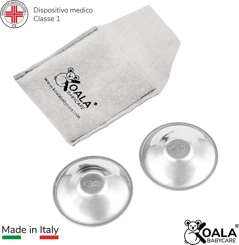 Koala Babycare® - Pezoneras en plata pura 999 sin níquel para la prevención y el tratamiento de las fisuras o grietas en el seno durante la lactancia. Dispositivo médico clase 1 - Koala Silver Cup