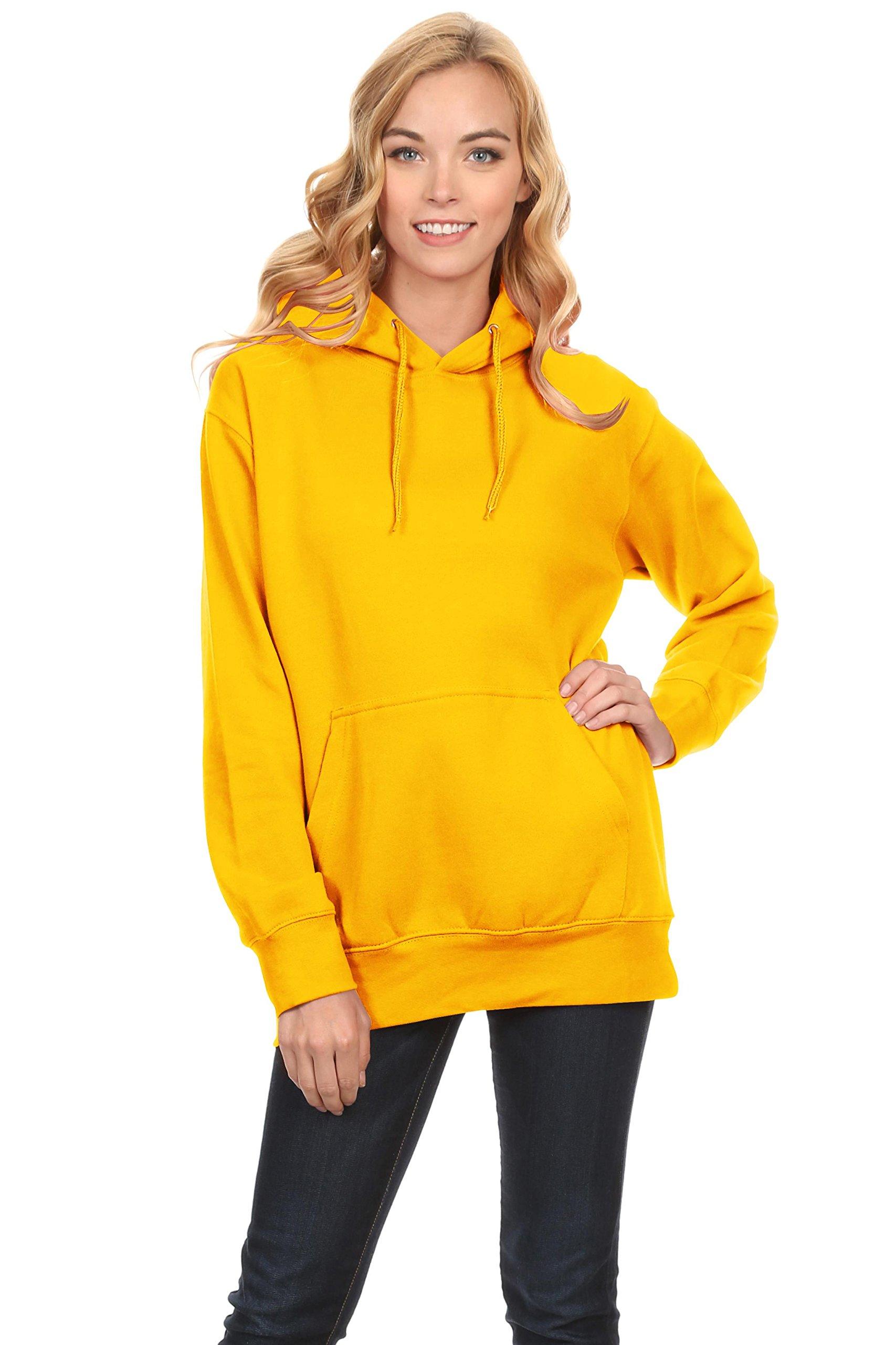 Simlu Fleece Pullover Hoodies Oversized Sweater Reg and Plus Size Sweatshirts, Yellow, Large