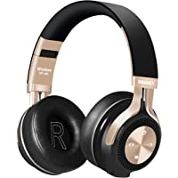 Bluetooth Headphones, Riwbox XBT-880 Wireless Bluetooth Headphones Over Ear with Microphone and Volume Control, Wireless and Wired Foldable Headset for iPhone/iPad/ PC/Cell Phones/TV (Black&Gold)