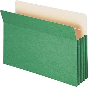 "Smead File Pocket, Straight-Cut Tab, 3-1/2"" Expansion, Legal Size, Green, 25 per Box (74226)"