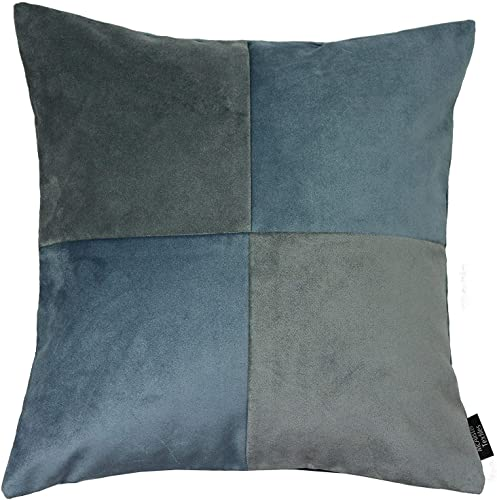 McAlister Textiles Square Filled Cushion Petrol Blue Charcoal Gray Plain Velvet Hand-Made Bedroom Decor Throw Sofa Pillow for Bedroom Sofa Living Room Dimensions – 24 x 24 Inches