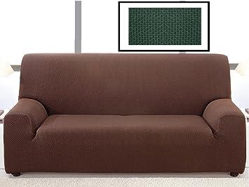 textil-home Funda de Sofá Bielástica ALASKA, 1 plaza (70 a 100Cm). Color Verde