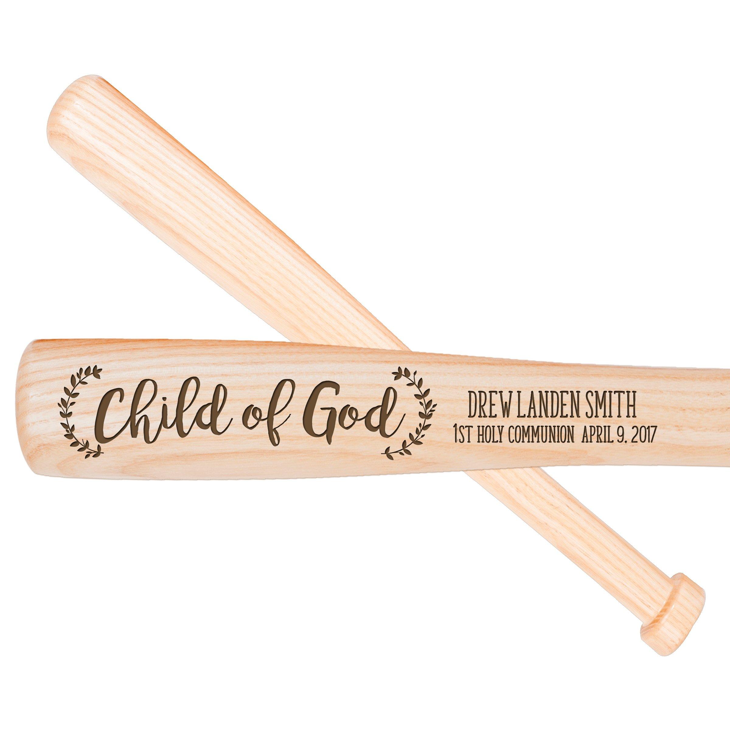LifeSong Milestones Personalized Baptism 1st holy Communion Custom Christening Baseball bat Child of God 18'' L X 1.75'' (Child of God)