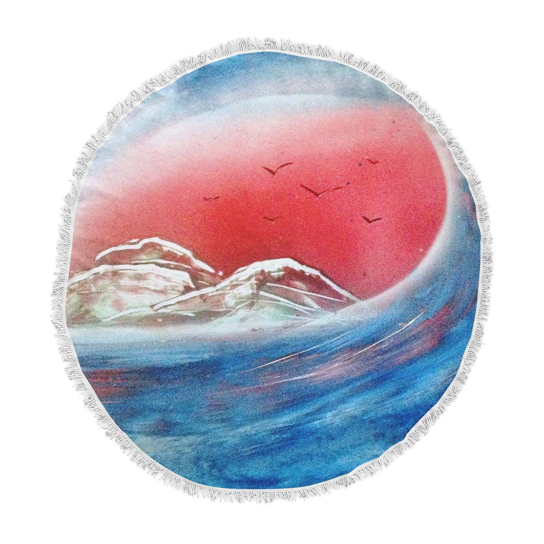 Kess InHouse Infinite Spray Art Tubular Red Blue Round Beach Towel Blanket TC1025ART01