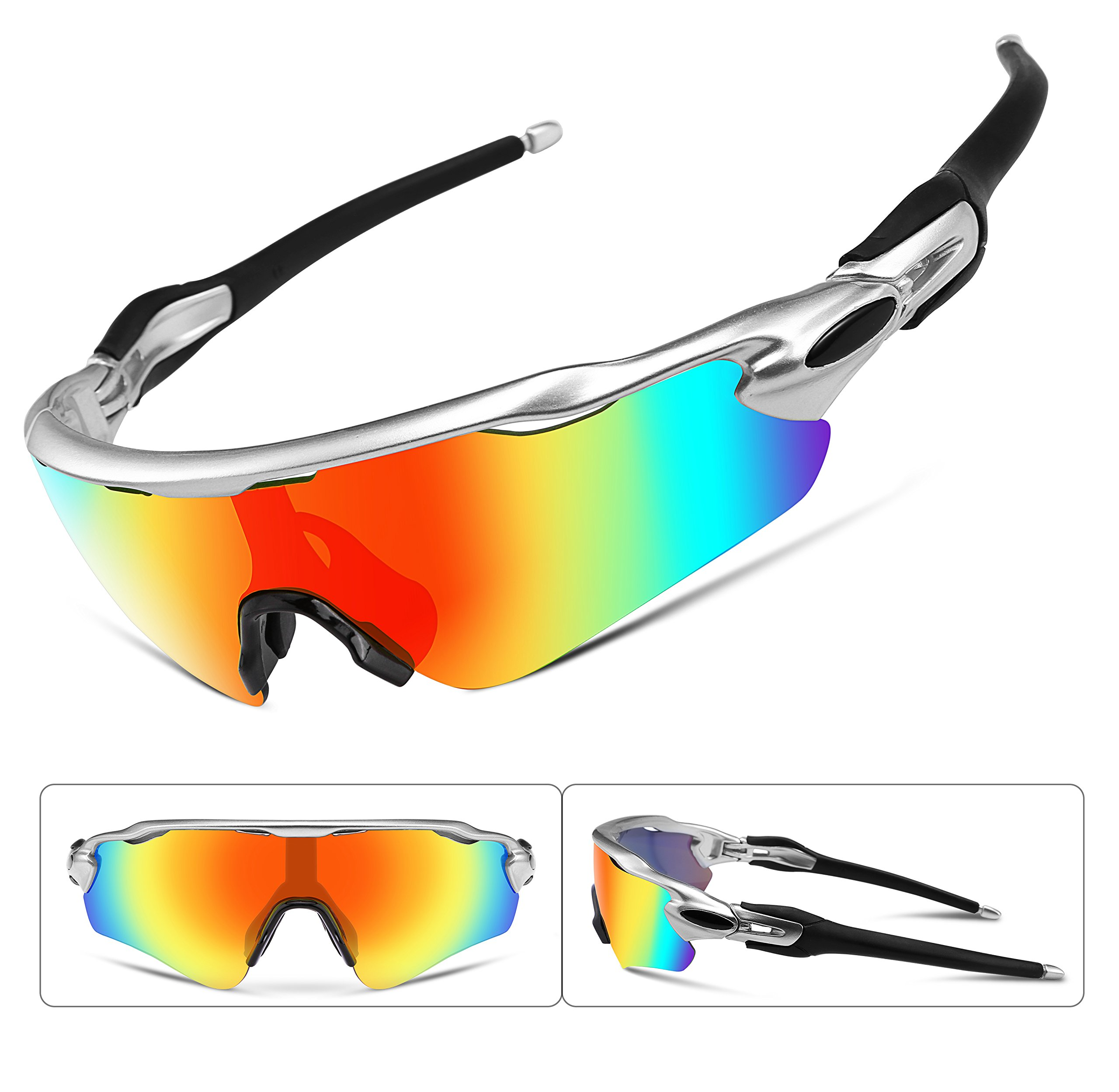 FEISEDY Polarized Sports Sunglasses Changeable Lenses TR90 Frame Cycling B2280 (6, 52) by FEISEDY