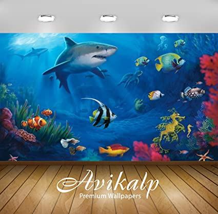 Avikalp Exclusive Awi2625 Fish Sharks Coral Underwater Full HD Wallpapers For Living Room Hall