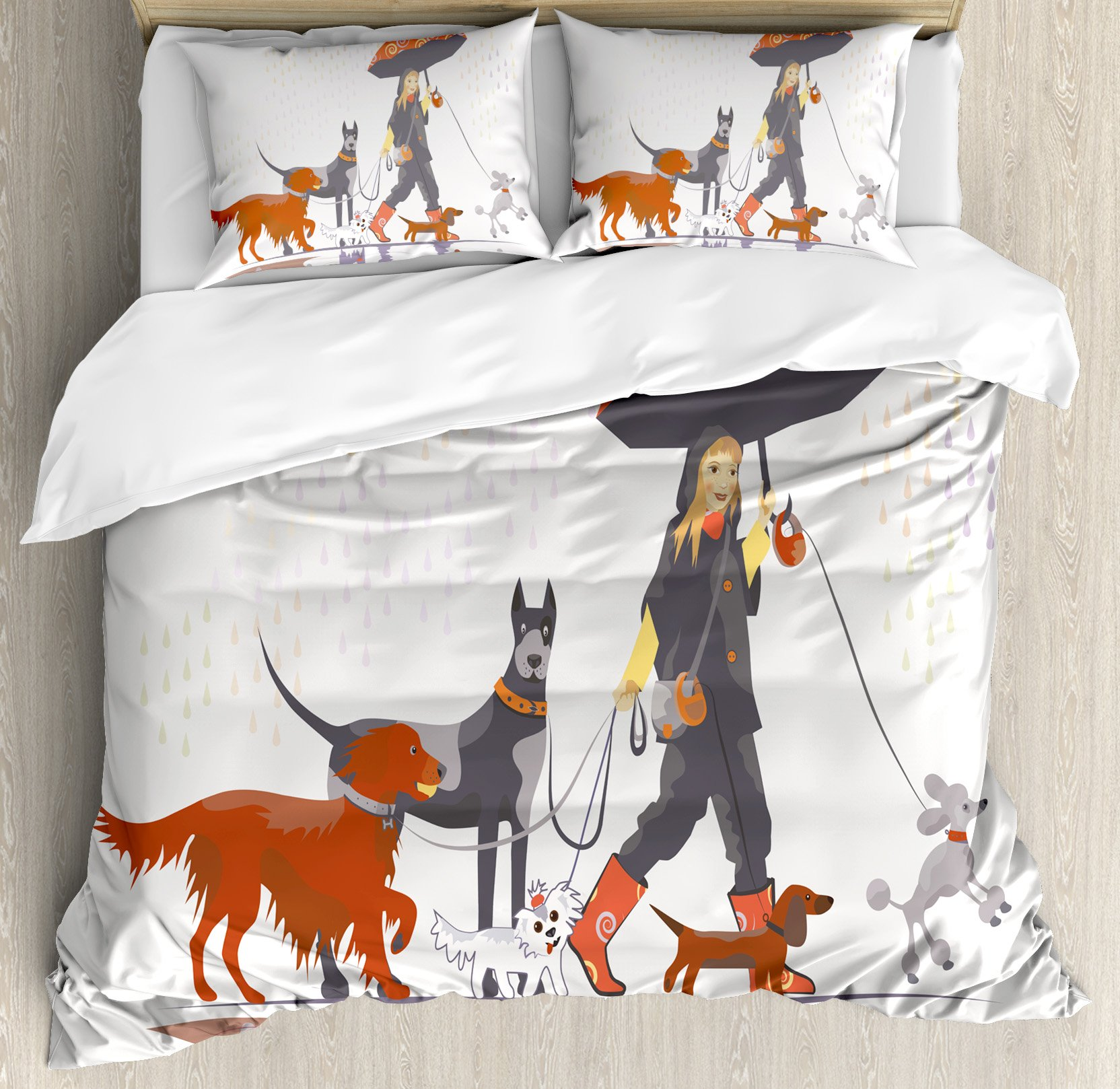 Ambesonne Dog Lover Decor Duvet Cover Set, Young Modern Girl Taking Pack of Dog for a Walk in The Rain Fun Joyful Times Artsy Print, 3 Piece Bedding Set with Pillow Shams, Queen/Full, Multi