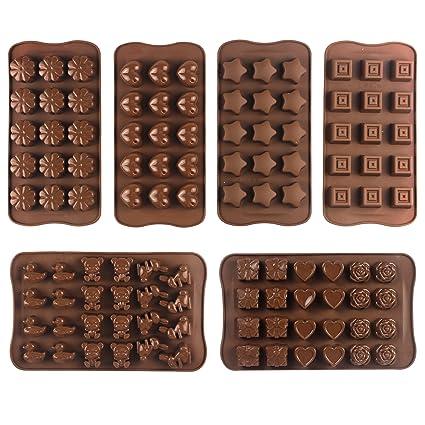 JPSOR 6PCS Moldes de Chocolate Moldes Para Caramelos Dulces Moldes de Silicona Para Hornear Con Forma