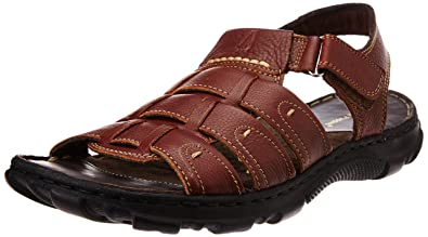 Hush Puppies Men s Simon Brown Leather Athletic   Outdoor Sandals - 7 UK  India ( e3841eb0d8