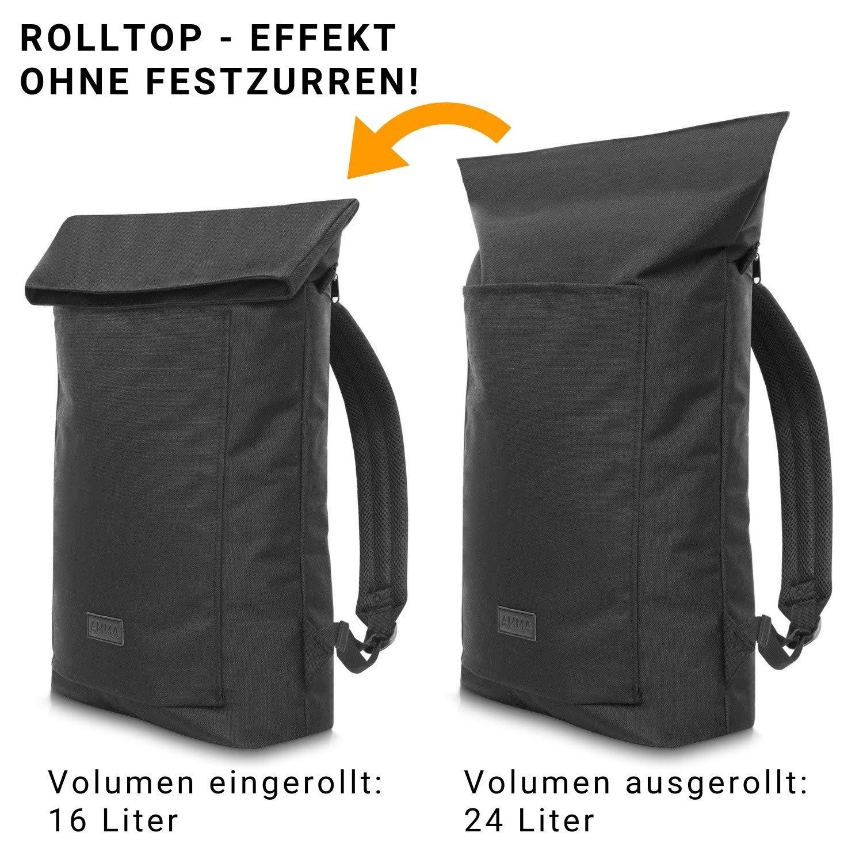 Damen und Herren Rucksack rei/ßfester AMMA Bags Rolltop Rucksack mit innovativem Rolltop Effekt wasserabweisender Tagesrucksack
