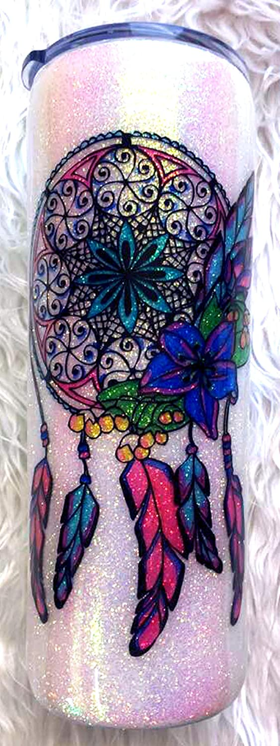 Color Changing Water Bottle Dream Catcher UV Glitter Tumbler Insulated Watercolor Glitter Tumbler 20 oz FREE SHIPPING Boho