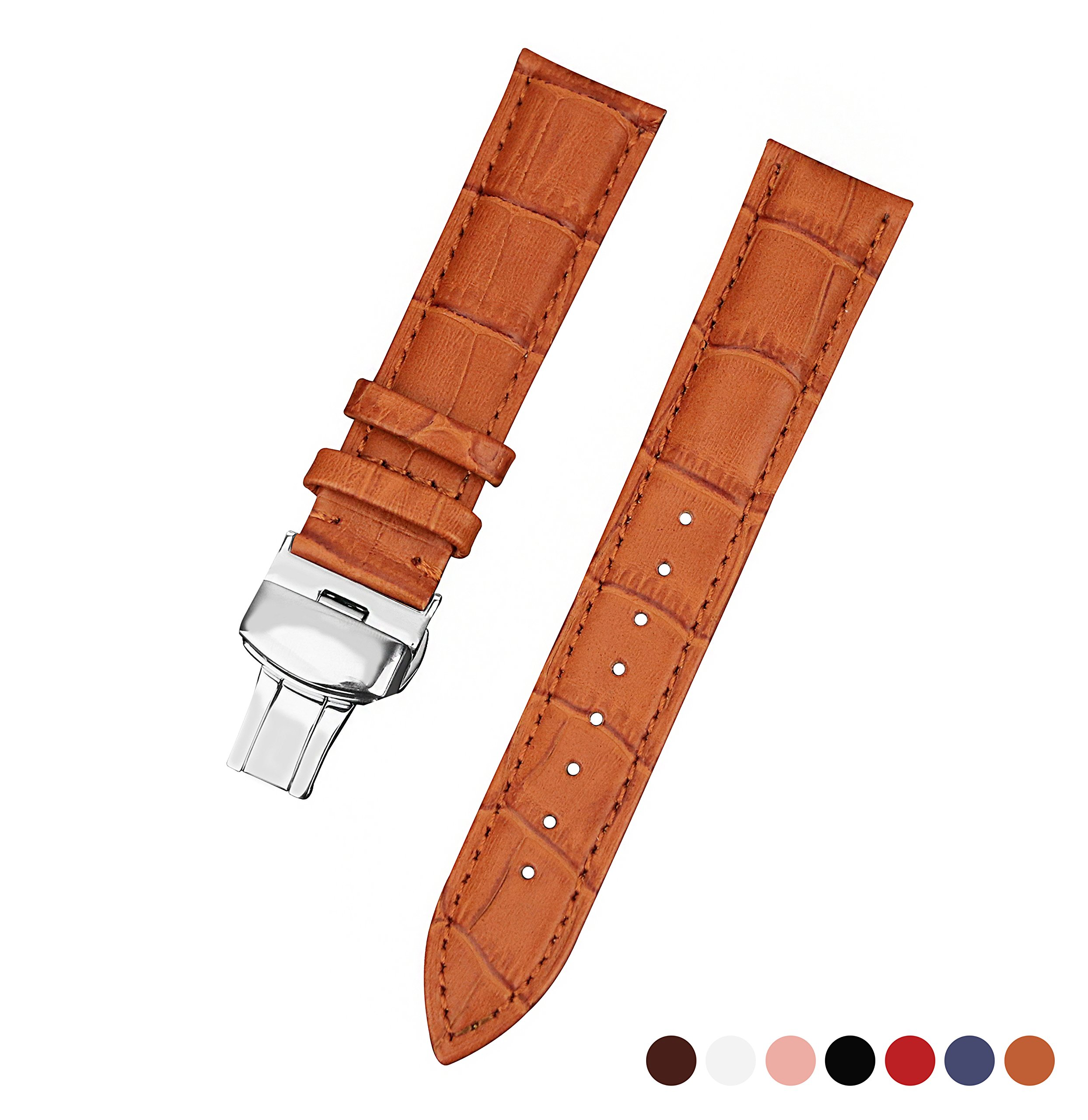 16mm Light Brown Genuine Leather Watch Band Watch Strap Watch Wristband Butterfly Clasp with Spring Bar