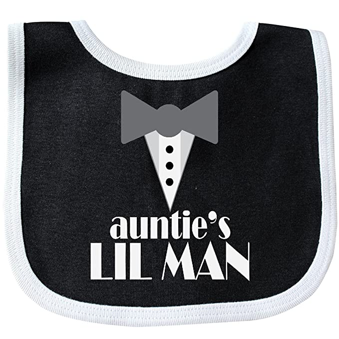 5ce7f03662b1 Amazon.com  Inktastic - Auntie Lil Man Tuxedo Front Baby Bib Black White  223f3  Clothing