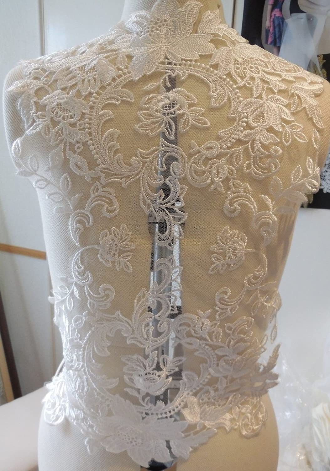 black or ivory large piece bridal bolero lace applique wedding dress lace motif
