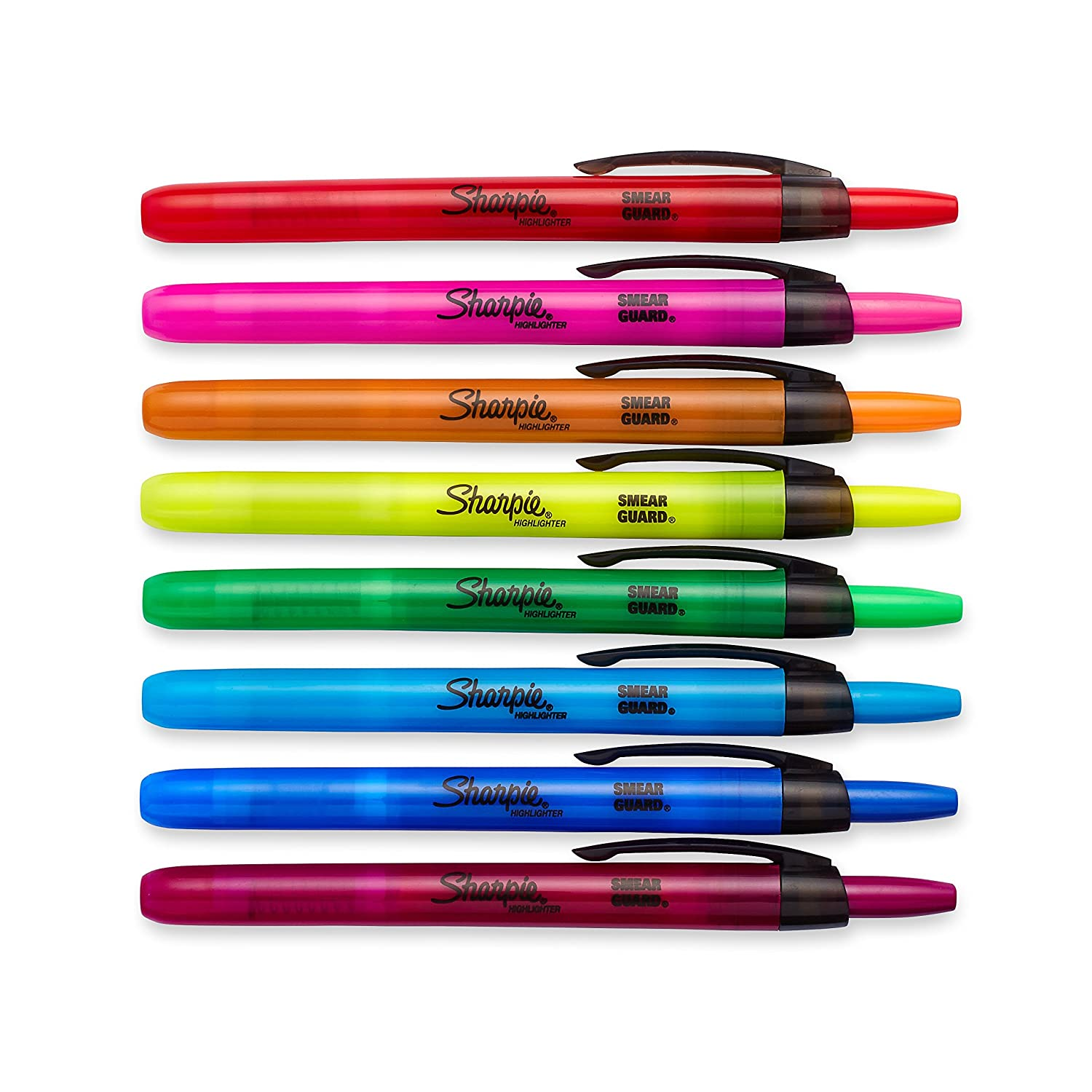 Sharpie 28101 Accent Retractable Highlighters Chisel Tip Assorted Colors 8Count