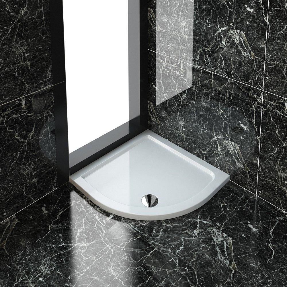 40mm Slimline Acrylic Quadrant Shower Enclosure Tray with Waste 800 x 800 mm