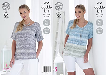 61dfea8d2cf King Cole 4767 Knitting Pattern Womens Round and V NeckTops in King Cole  Vogue DK